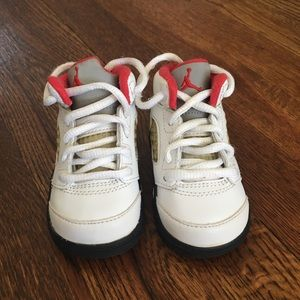 White Leather Jordan Sneakers Shoes Size 4C